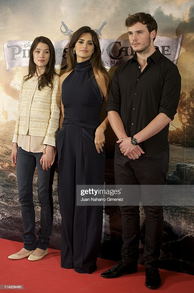 French actress Astrid Berges-Frisbey, Spanish actress Penelope Cruz and British actor Samuel Clafin attend 'Pirates Of The Caribbean: On Stranger Tides' (Piratas del Caribe: en Mareas Misteriosas) photocall at Villamagna Hotel on May 18, 2011 in Madrid, Spain.