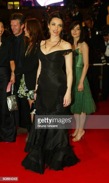 French actress Beatrice Dalle attends 'Clean' premiere at Le Palais de Festival at the 57th Cannes Film Festival on May 21 2004 in Cannes France