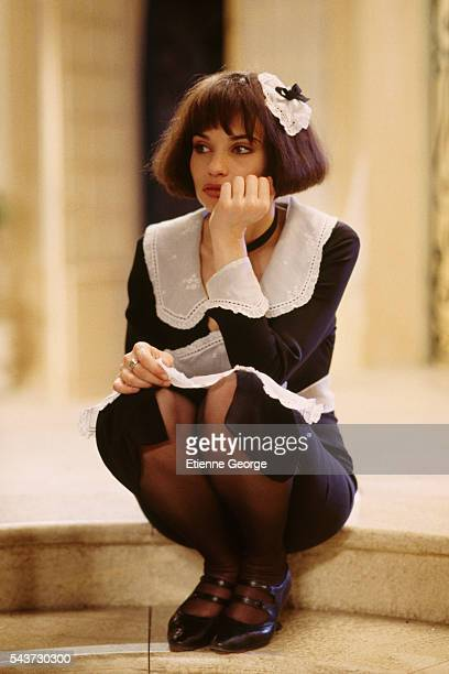 French actress Beatrice Dalle on the set of Desire directed by French director Bernard Murat and based on Sacha Guitry's play by the same title