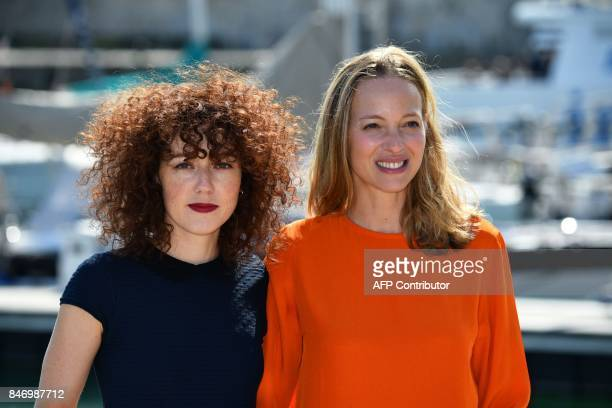 French actress Blandine Bellavoir and Elodie Frenck pose during the 19th edition of the 'Festival de fiction TV' in La Rochelle western France on...