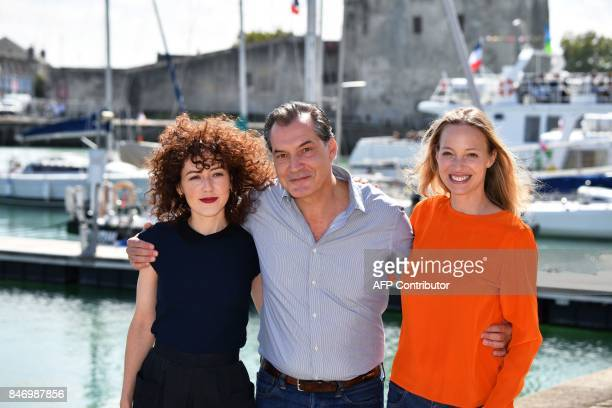French actress Blandine Bellavoir French actor Samuel Labarthe and French actress Elodie Frenck pose during the 19th edition of the 'Festival de...