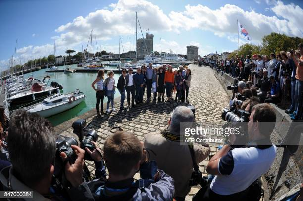 French actress Blandine Bellavoir French actor Samuel Labarthe and French actress Elodie Frenck and the whole team of the series 'Petits meurtres...