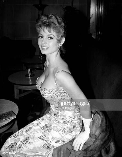 French actress Brigitte Bardot at the Cafe Royal London where she attended BBC Television's 'Saturday Night Out' broadcast with other stars who are...