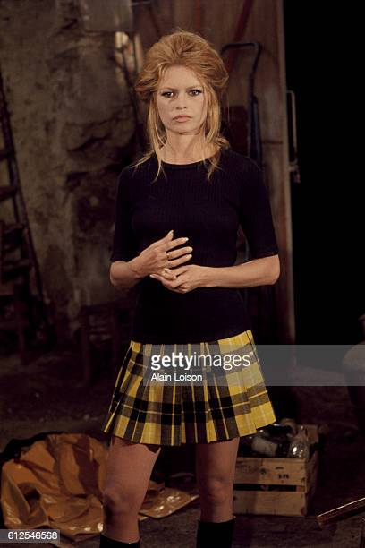 French actress Brigitte Bardot on the set of L'Ours et la Poupee, written and directed by Michel Deville.