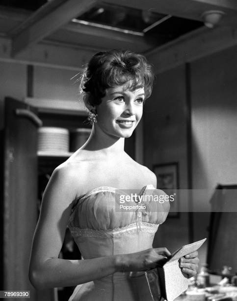 French actress Brigitte Bardot pictured smiling during the shooting of her film 'Doctor at Sea' 1955