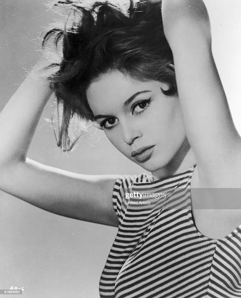 French actress Brigitte Bardot wearing a striped vest top 1958