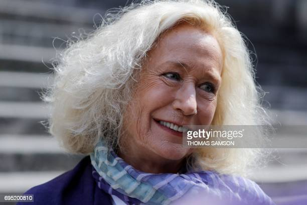 French actress Brigitte Fossey leaves the SaintRoch Church in Paris after attending the funeral of French actor JeanMarc Thibault on June 12 2017 /...