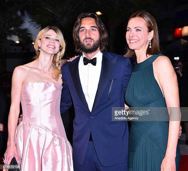 French actress Carole Bouquet French producer Dimitri Rassam and his wife Masha Novoselova leave the screening of the film 'The Little Prince' at the...