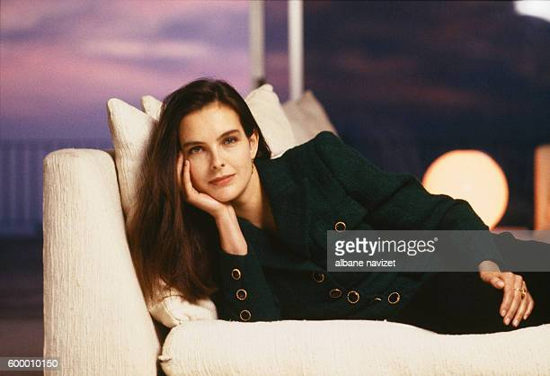 French actress Carole Bouquet wearing clothing by Chanel