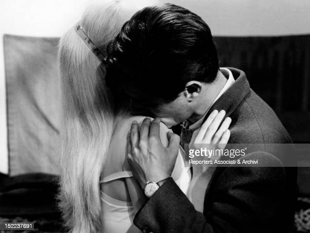 French actress Catherine Deneuve and French actor Sami Frey acting in 'La costanza della ragione'1964