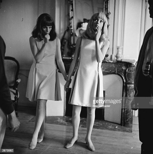 French actress Catherine Deneuve and her older sister Francoise Dorleac who are appearing in the new Gene Kelly film 'Les Demoiselles de Rochefort'