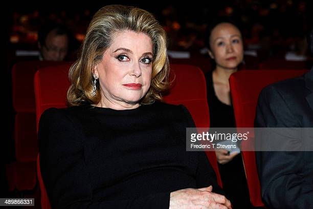 French actress Catherine Deneuve attends the opening of the 4th Paris Chinese Film Festival at Cinema Gaumont Marignan on May 12 2014 in Paris France