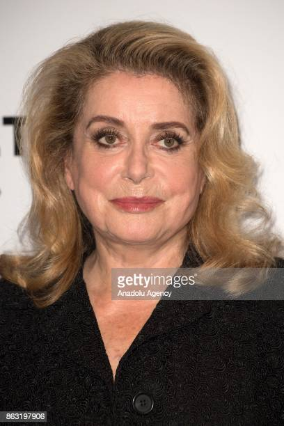 French actress Catherine Deneuve attends the premiere for 'All That Divides Us' movie at the UGC Cine Cite Bercy in Paris France on October 19 2017