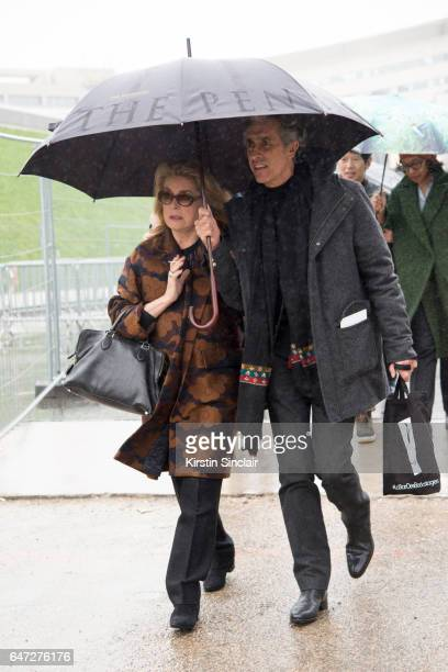 French Actress Catherine Deneuve on day 2 during Paris Fashion Week Autumn/Winter 2017/18 on March 1 2017 in Paris France