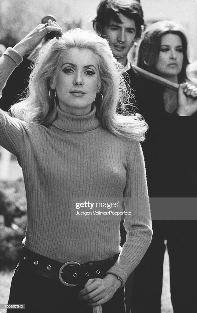 French actress <a gi-track='captionPersonalityLinkClicked' href=/galleries/search?phrase=Catherine+Deneuve&family=editorial&specificpeople=123833 ng-click='$event.stopPropagation()'>Catherine Deneuve</a> on the set of 'La Chamade' in France, 1968.