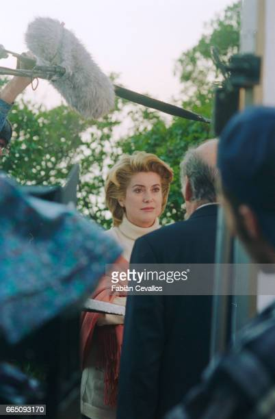 French actress Catherine Deneuve shoots a scene of the 1995 FrancoPortuguese movie O Convento in Portugal Directed and written by Manoel De Oliveira...