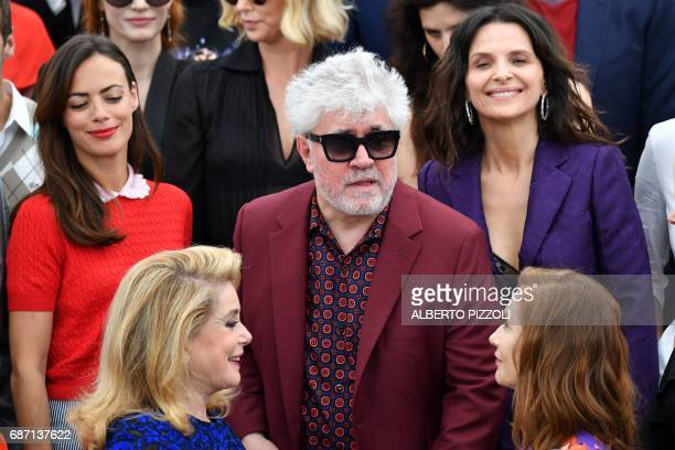 French actress Catherine Deneuve Spanish director and President of the Feature Film Jury Pedro Almodovar and French actress Isabelle Huppert...