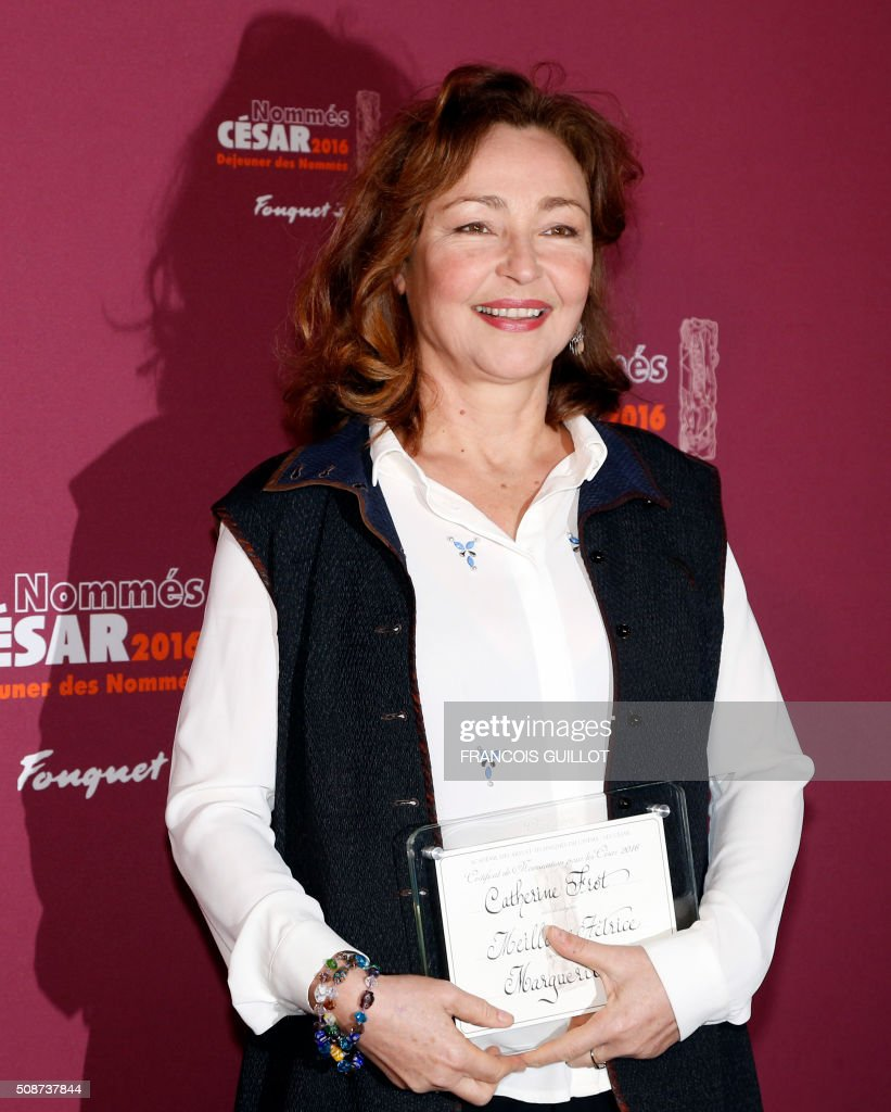 French actress Catherine Frot, nominated as Best Actress, poses during the nominations event for the 2016 César film awards, on February 6, 2016 in Paris. The 41st Ceremony for the Cesar film award, considered as the highest film honour in France, will take place on February 26, 2016. / AFP / FRANCOIS GUILLOT