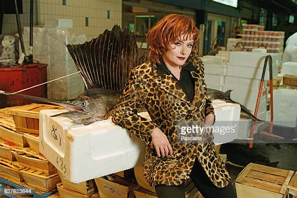 French actress Catherine Jacob at the Rungis meat market