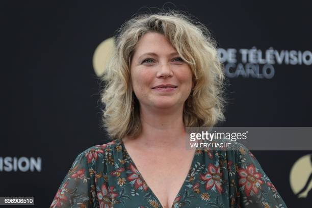 French actress Cecile Bois poses during a photocall for the TV show 'Candice Renoir' as part of the 57th MonteCarlo Television Festival on June 17...