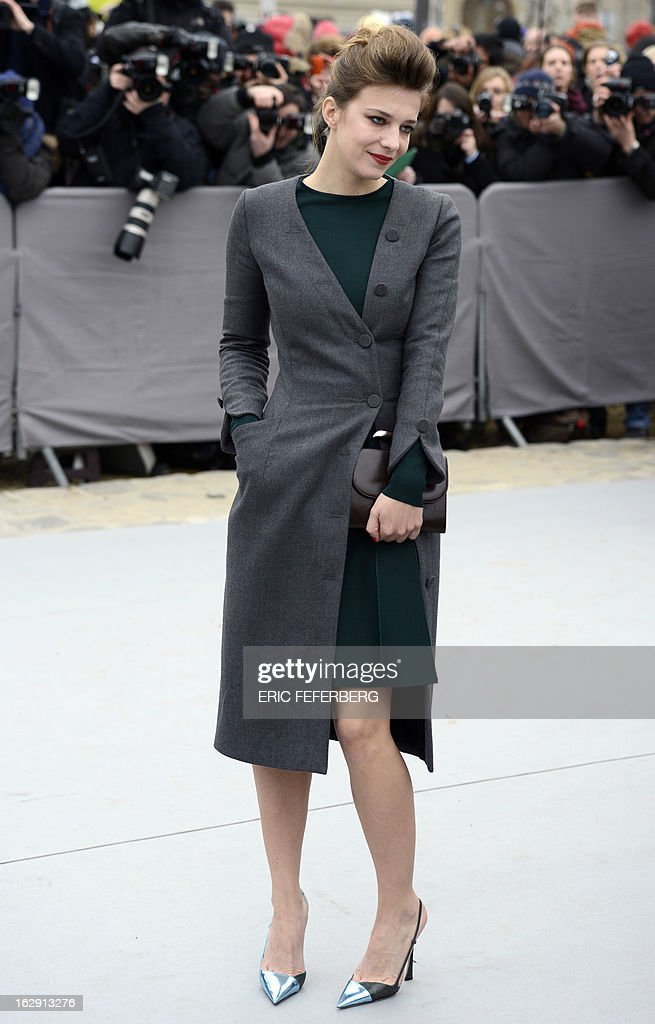 French actress Celine Sallette arrives on March 1, 2013 to attend Christian Dior's Fall/Winter 2013-2014 ready-to-wear collection show in Paris.