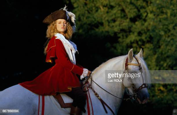 French actress Charlotte de Turckheim on the set of Chouans directed by Philippe de Broca