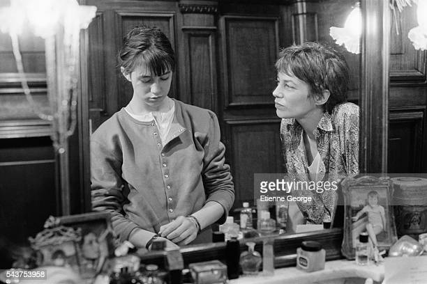 French actress Charlotte Gainsbourg with her mother British actress and singer Jane Birkin on the set of the film 'Jane B par Agnes V' directed by...