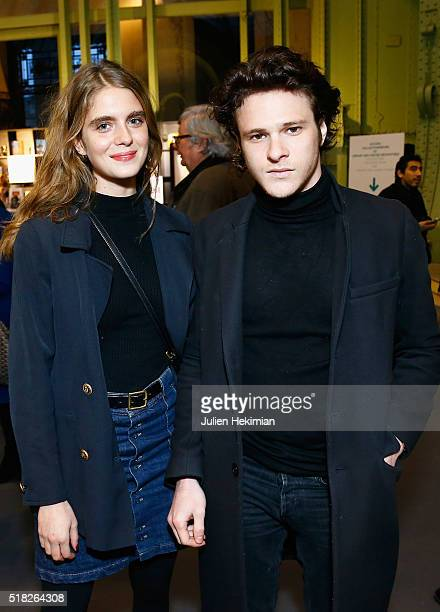 French actress Dolores Doll and Alexis Poivre attend the 'Art Paris Art Fair 2016' at Grand Palais on March 30 2016 in Paris France