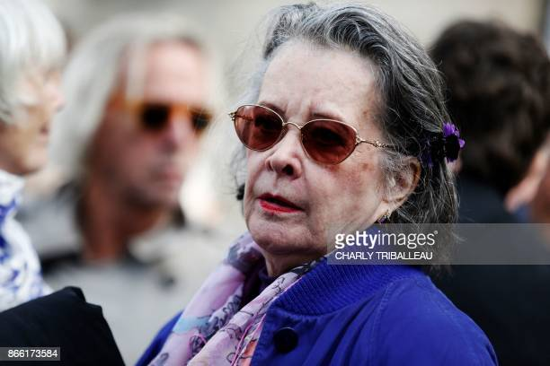 French actress Dominique Lavanant walks with others as they attend the funeral service of the French actress Danielle Darrieux in BoisleRoi...