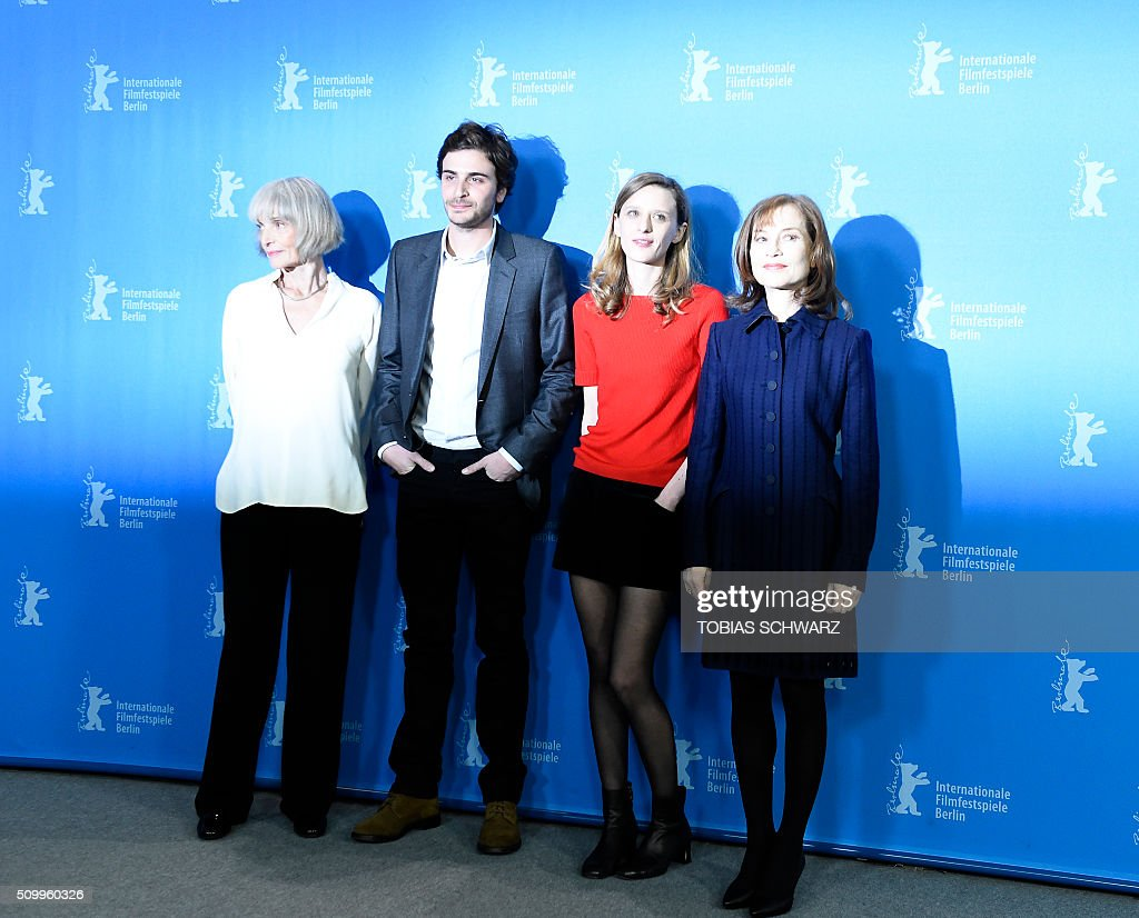 French actress Edith Scob, French actor Roman Kolinka, French director Mia Hansen-Love and French actress Isabelle Huppert pose during a photo call for the film 'L'Avenir' (Things to Come) in competition at the 66th Berlinale Film Festival in Berlin on February 13, 2016. / AFP / TOBIAS SCHWARZ