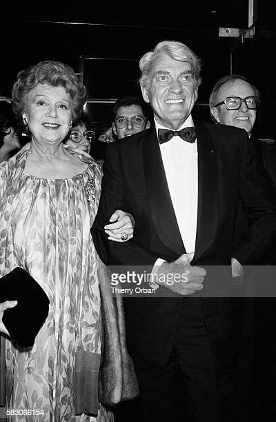 French actress Edwige Feuillere and actor Jean Marais at a party held in the honor of Marais Marais was celebrating his 50 years of acting with...
