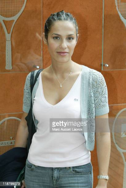 French actress Elisa Tovati poses arriving at 'VIP Village' during the French Open Tennis tournament held at Roland Garros stadium in Paris France on...