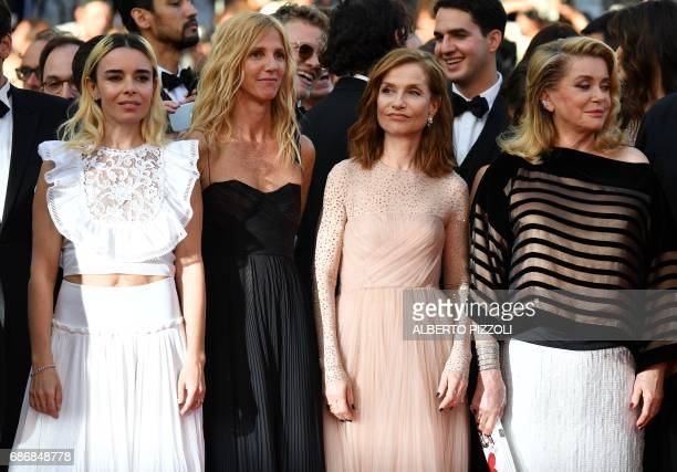 French actress Elodie Bouchez French actress Sandrine Kiberlain French actress Isabelle Huppert and French actress Catherine Deneuve pose as they...