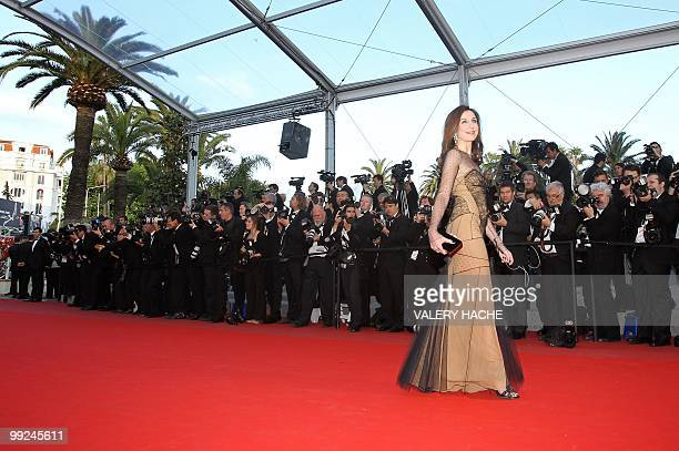 French actress Elsa Zylberstein arrives for the screening of the film 'Tournee' presented in competiton at the 63rd Cannes Film Festival on May 13...