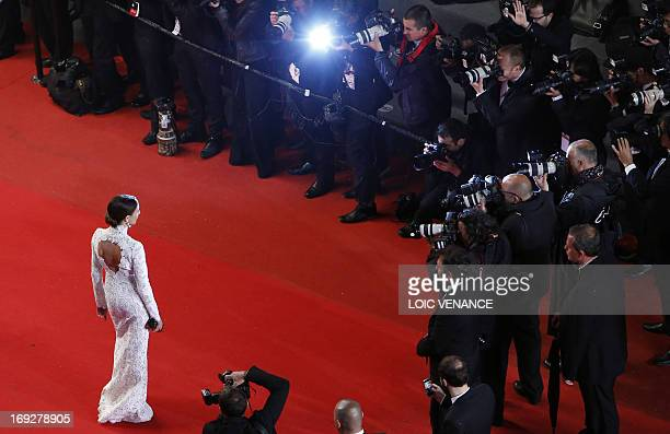 French actress Elsa Zylberstein poses on May 22 2013 as she arrives for the screening of the film 'Only God Forgives' presented in Competition at the...