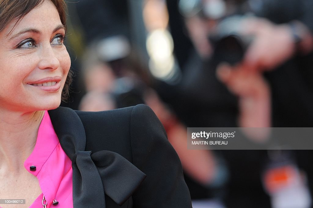 French actress Emmanuelle Beart arrives for the closing ceremony at the 63rd Cannes Film Festival on May 23, 2010 in Cannes.