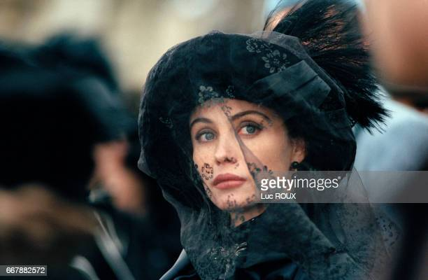 French actress Emmanuelle Beart on the set of the film Le Temps Retrouve d'Apres l'Oeuvre de Marcel Proust directed by Raoul Ruiz