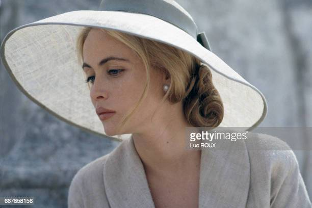 French actress Emmanuelle Beart on the set of the film Une Femme Francaise directed by Regis Wargnier