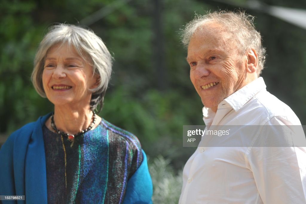 French actress Emmanuelle Riva (L) and French actor Jean-Louis Trintignant pose during a photocall for 'Amour' on October 9, 2012 in Rome. 'Amour' a film by Austrian film director Michael Haneke with French actress Emmanuelle Riva and actor Jean-Louis Trintignant won the Palme d'Or at the 2012 Cannes film festival.
