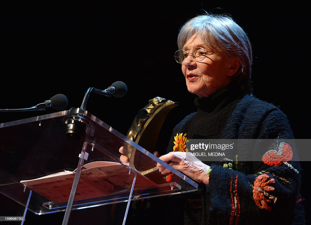 French actress Emmanuelle Riva delivers a speech on stage after receiving the best actress award for the film 'Amour' directed by Austrian filmmaker Michael Haneke during the 18th Lumieres awards ceremony, on January 18, 2013 at the Gaite Lyrique in Paris. International media journalists based in Paris from around 50 countries vote each year to award their own prizes to members of the French and francophone film industry. The Academy of the Lumieres paid this year a tribute to foreign actresses in French cinema and organised for the first time, the day before, the 'Francophone meetings' with hosted Tunisia, during which Tunisian director, Ferid Boughedir gave a masterclass.
