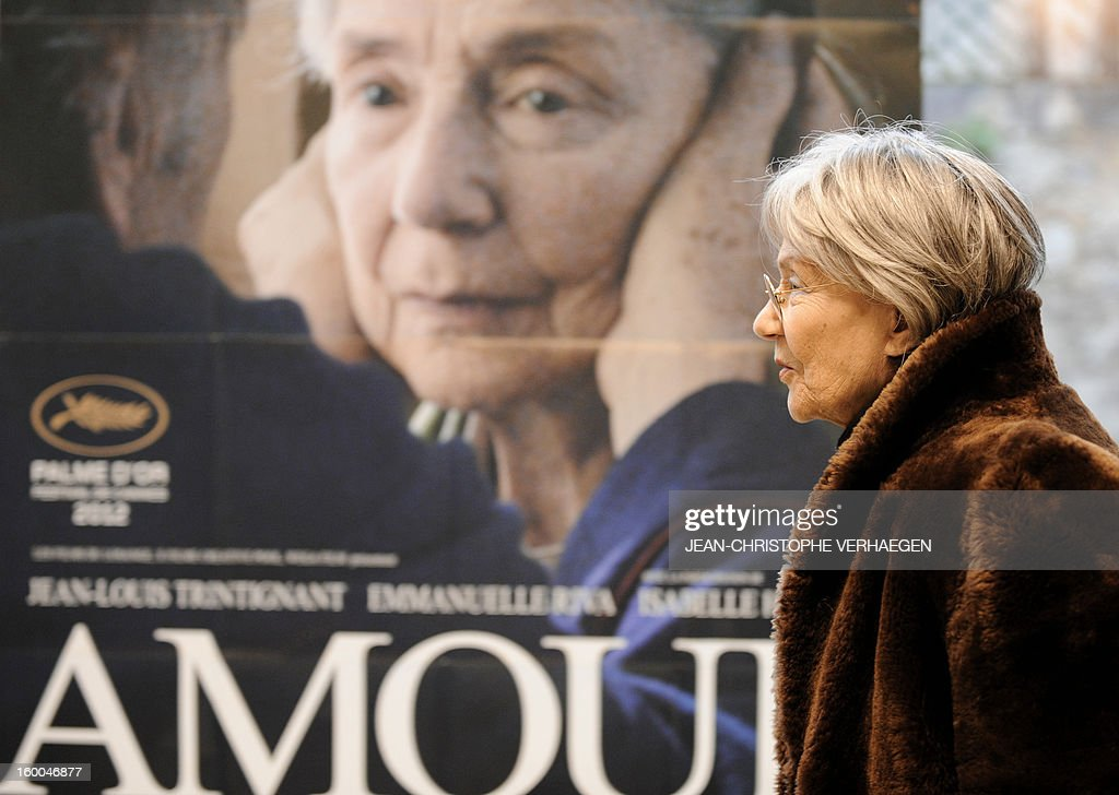 French actress Emmanuelle Riva gives a press conference on January 25, 2013 in Remiremont, eastern France. Riva is nominated for the Best actress award of the 85th Academy Award for her role in the Michael Haneke movie's 'Amour'. At 85 she is the oldest ever nominated for best actress.