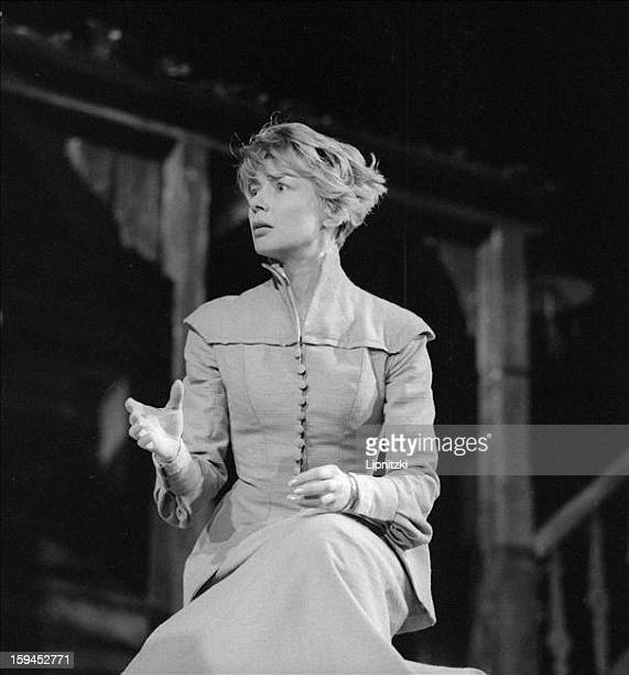 French actress Emmanuelle Riva in Maxim Gorky's 'Children of the Sun' directed by Georges Wilson at the Theatre National Populaire Paris December 1963