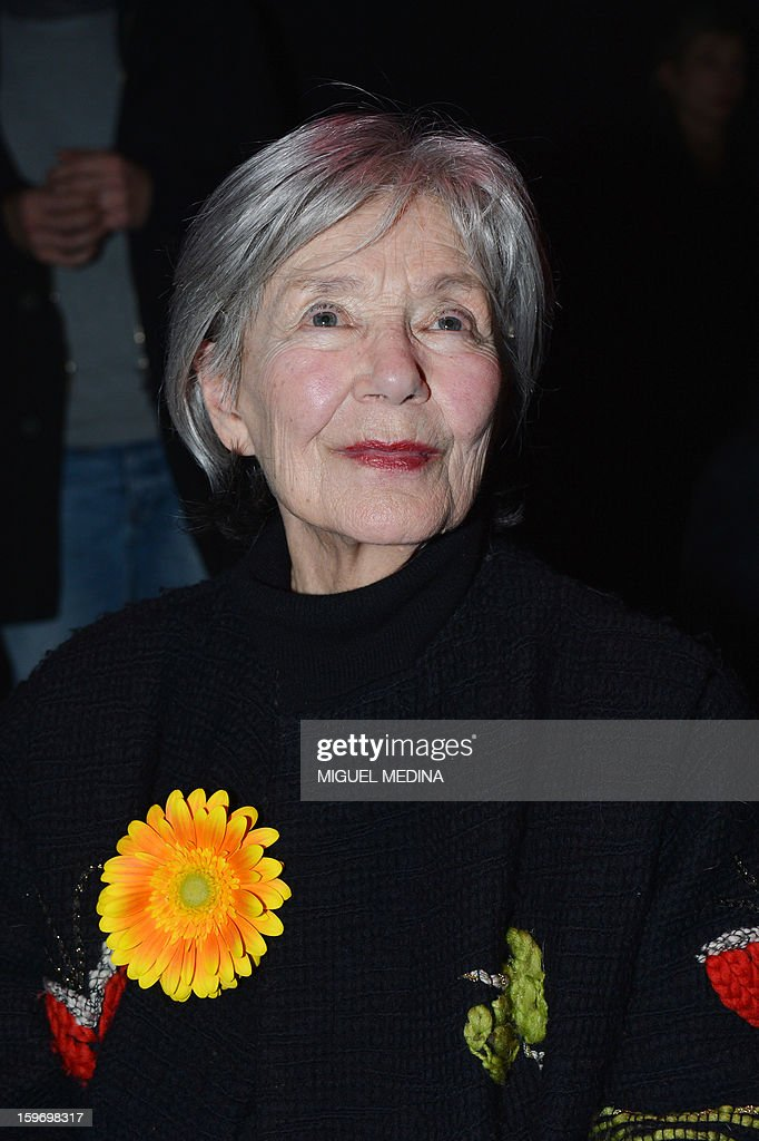 French actress Emmanuelle Riva poses after receiving the best actress award for the film 'Amour' directed by Austrian filmmaker Michael Haneke during the 18th Lumieres awards ceremony, on January 18, 2013 at the Gaite Lyrique in Paris. International media journalists based in Paris from around 50 countries vote each year to award their own prizes to members of the French and francophone film industry. The Academy of the Lumieres paid this year a tribute to foreign actresses in French cinema and organised for the first time, the day before, the 'Francophone meetings' with hosted Tunisia, during which Tunisian director, Ferid Boughedir gave a masterclass. AFP PHOTO MIGUEL MEDINA