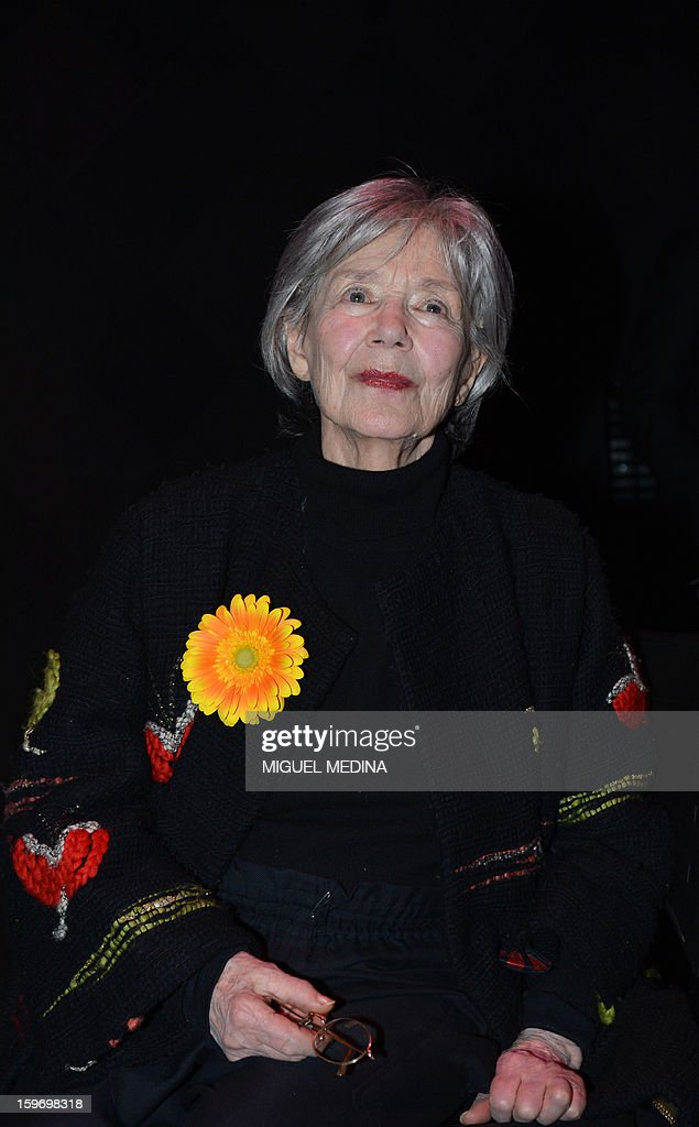French actress Emmanuelle Riva poses after receiving the best actress award for the film 'Amour' directed by Austrian filmmaker Michael Haneke during the 18th Lumieres awards ceremony, on January 18, 2013 at the Gaite Lyrique in Paris. International media journalists based in Paris from around 50 countries vote each year to award their own prizes to members of the French and francophone film industry. The Academy of the Lumieres paid this year a tribute to foreign actresses in French cinema and organised for the first time, the day before, the 'Francophone meetings' with hosted Tunisia, during which Tunisian director, Ferid Boughedir gave a masterclass.