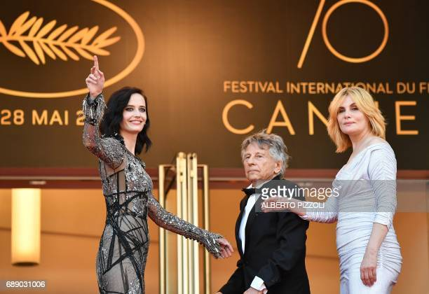 French actress Eva Green FrenchPolish director Roman Polanski and French actress Emmanuelle Seigner arrive on May 27 2017 for the screening of the...