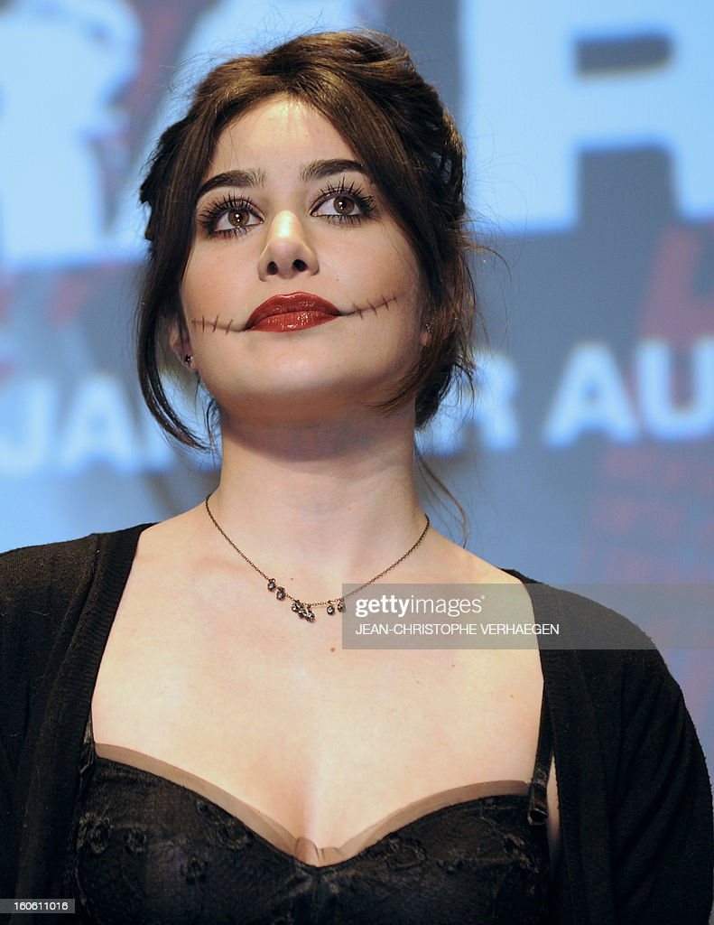 French actress Fanny Vallette, member of the short film jury, wears a scary make-up as she attends the closing ceremony of the 20th International Fantastic Film Festival on February 3, 2013 in Gerardmer, eastern France. VERHAEGEN