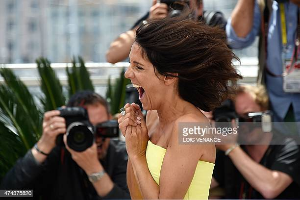 French actress Florence Foresti laughs during a photocall for the film 'The Little Prince' at the 68th Cannes Film Festival in Cannes southeastern...