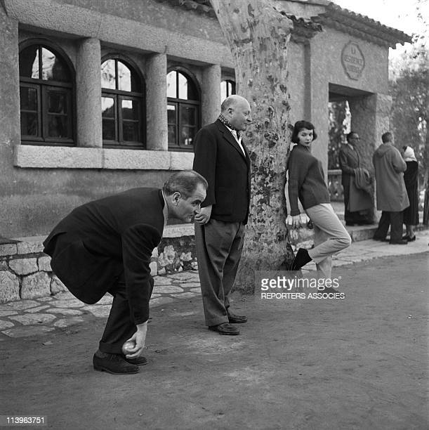 French Actress Francoise Arnoul In France In 1950French actress Francoise Arnoul watching film director Andre Cayatte play petanque in the fifties