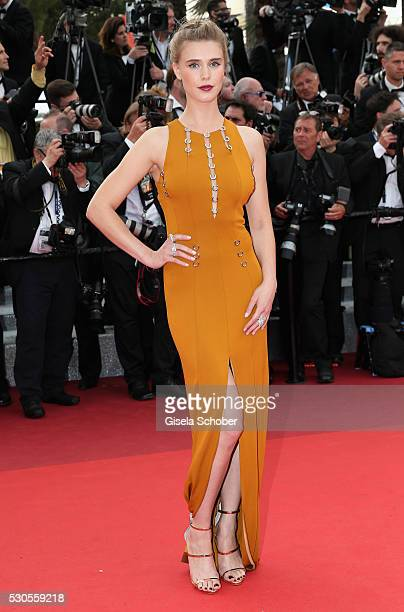 French actress Gaia Weiss attends the 'Cafe Society' premiere and the Opening Night Gala during the 69th annual Cannes Film Festival at the Palais...