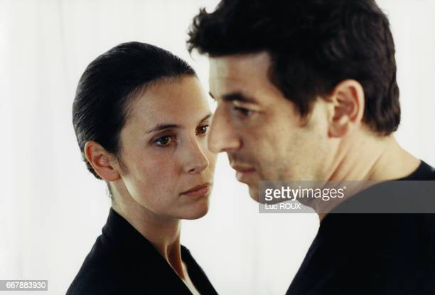 French actress Geraldine Pailhas and actor and singer Patrick Bruel on the set of the film Une Vie a T'Attendre directed by Thierry Klifa